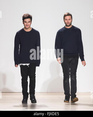 New York City, USA - February 17, 2016: Designers Lazaro Hernandez and Jack McCollough walk the runway at Proenza - Stock Photo