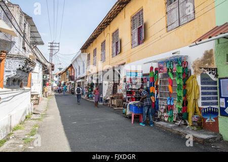 Shops In Jew Town Kochi Kerala India - Stock Photo