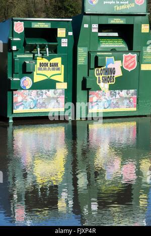 Flood water around recycling bins. Oxfordshire. England - Stock Photo