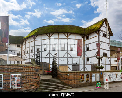 Shakespeare's Globe theatre on the south bank of the River Thames, Southwark, London, England, UK - Stock Photo