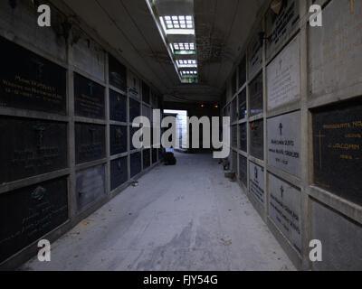 Dark hallway in the catacombs of Laken - Stock Photo
