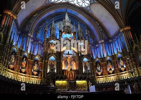Notre-Dame Basilica in Montreal, Quebec, Canada (Basilique Notre-Dame de Montreal) - Stock Photo