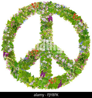 Green Peace symbol abstract collage made from fresh spring branches plants  and  flowers. Isolated - Stock Photo