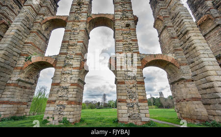 Aqueduct of the Miracles in Merida, Spain, UNESCO - Stock Photo