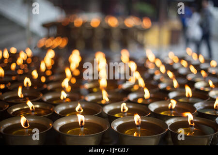 Oil Lamps Burning At Temple - Stock Photo