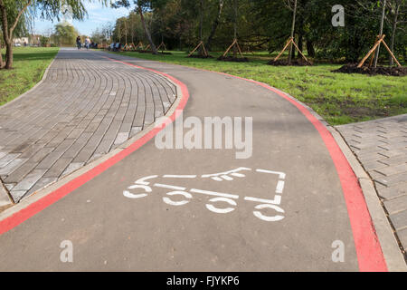 The path with white sign for skating in the park - Stock Photo
