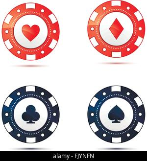 Casino chips with card suits symbols on white - Stock Photo