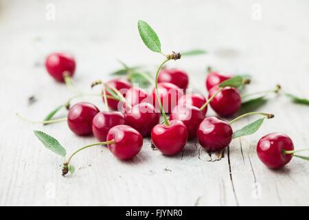 Fresh organic sour cherry, ripe, deep red cherry - Stock Photo