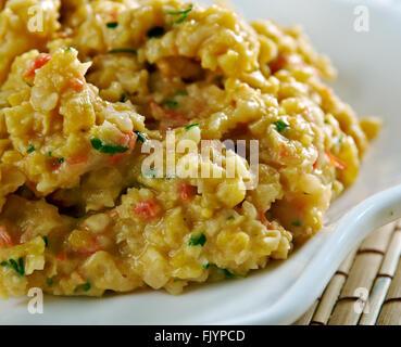 Matevz pureed beans - Slovene national dish.made of beans and potatoes.Slovenian cuisine - Stock Photo