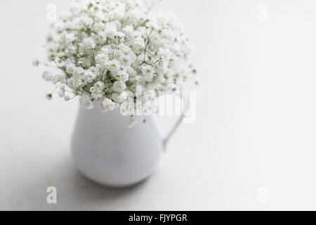 White baby's breath flowers (Gypsophila) in white vase - Stock Photo