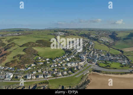 An aerial view of the North Devon seaside resort of Woolacombe - Stock Photo