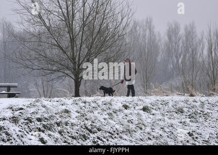 Manchester, UK. 4th March, 2016. A dog walker walks along the snow-covered bank of the River Mersey in Didsbury, - Stock Photo