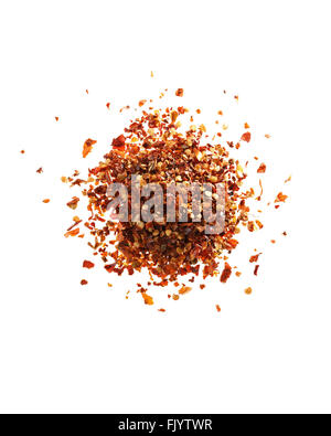 Red pepper flakes, on white background - Stock Photo