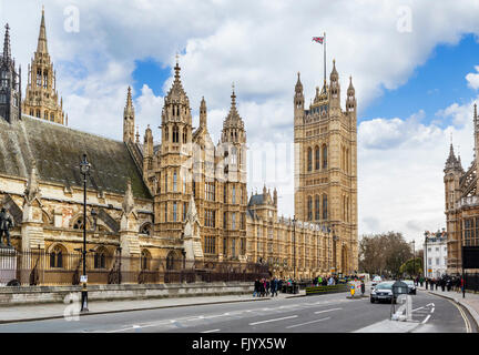 Palace of Westminster (Houses of Parliament) from Parliament Square, Westminster, London, England, UK - Stock Photo