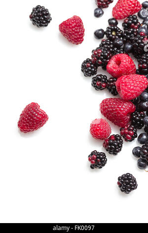 Fresh and delicious berries on white background - Stock Photo