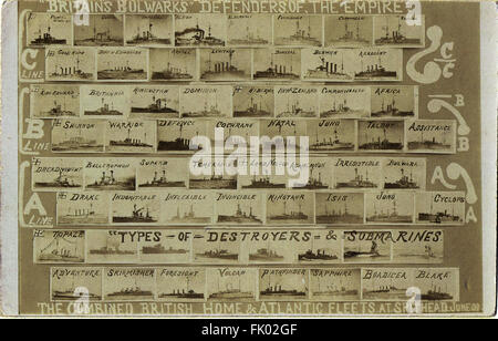 1909 Postcard of the Combined British Home & Atlantic Fleet review types & classes of destroyers, submarines etc - Stock Photo