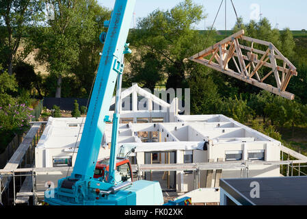 Prefabricated house under construction, Germany - Stock Photo