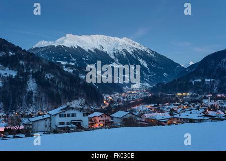 Montafon main valley in the evening, view of Schruns as seen from Vandans, Silvretta Montafon ski resort above - Stock Photo