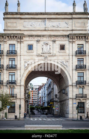 Banco de Santander, built in 1875, first headquarters of the Bank in Paseo de Pereda, Santander. - Stock Photo