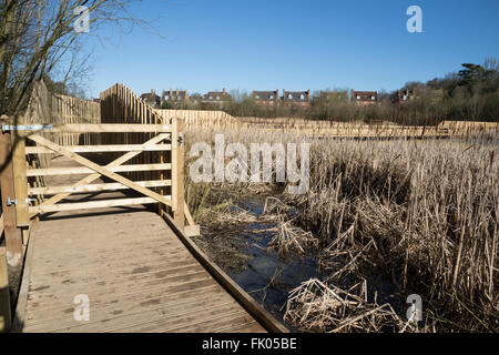 Gate to new wooden pedestrian access bridge over wetland nature reserve - Stock Photo