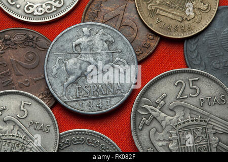 Coins of Spain under Franco. Lancer on horseback depicted in the Spanish 10 centimos coin (1941). - Stock Photo