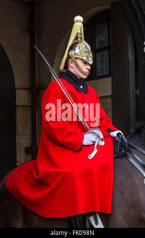 Life Guard on duty outside Horse Guards Parade on Whitehall, Westminster, London, England, UK - Stock Photo