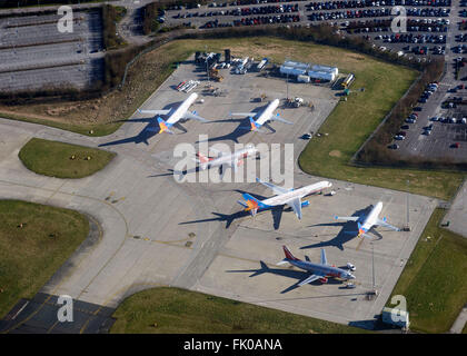 Aircraft parked at Leeds Bradford Airport, Yorkshire, Northern England UK - Stock Photo