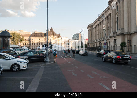 Rush Hour On Victory Avenue (Calea Victoriei) Downtown Of Bucharest City. Romania - September, 2015. - Stock Photo