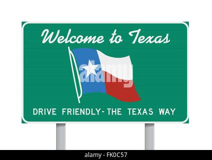 Welcome to Texas road sign - Stock Photo