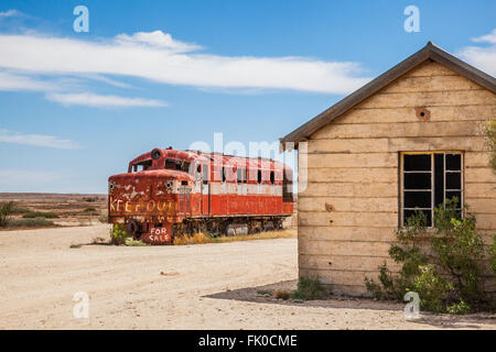 old Ghan locomotive at Marree station, South Australia. The Old Ghan railway line was closed in the 1980s - Stock Photo