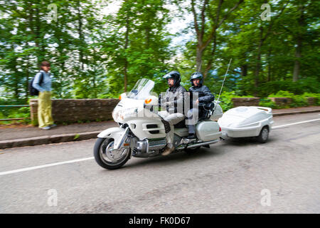 Motorcyclists riding a motorbike along the Alsace route Haut-Rhin France - Stock Photo