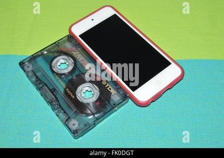 I-Pod and cassette - Stock Photo