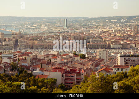Overview of Marseille France from Notre Dame de la Garde - Stock Photo