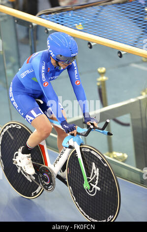 London, UK. 04th Mar, 2016. A member of the Italian Women's Pursuit Team just after competing in the 4000m Women's - Stock Photo