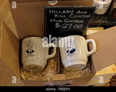 Bill & Hillary Clinton coffee mugs for sale at Fish's Eddy on Broadway in Lower Manhattan, New York City. - Stock Photo