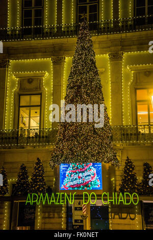 Armazens Do Chiado shopping centre, Lisbon, Portugal decorated in Christmas lights - Stock Photo