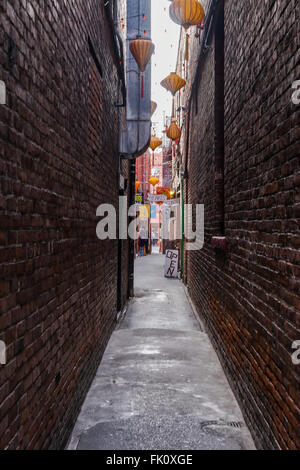 Fan Tan Alley in Victoria, British Columbia, Canada on Vancouver Island - Stock Photo