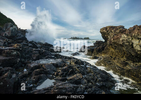 Waves Crashing at Pettinger Point, Cox Bay, Pacific Rim National Park, Tofino, Ucluelet, Vancouver Island,  British - Stock Photo