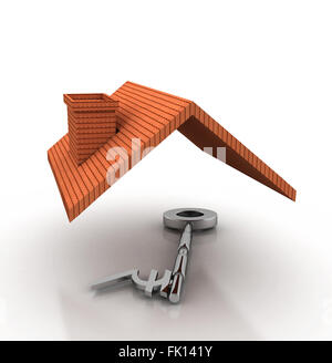 Roof on Indian symbol key. High quality sharp 3D render. - Stock Photo