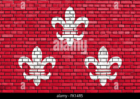 flag of Beverwijk painted on brick wall - Stock Photo