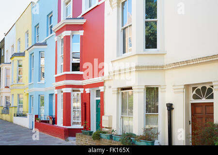 Typical colorful houses facades in London - Stock Photo