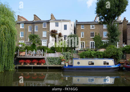 Little Venice canal, houses and house boat in a summer day in London - Stock Photo