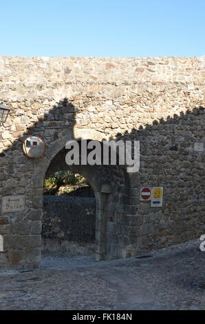 Stone arch on wall of the medieval fortress in Marvao, Portugal - Stock Photo