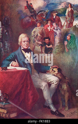 Sir Walter Scott & some of his most famous creations - Stock Photo