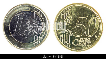 One Euro and fifty cent coin - Stock Photo