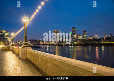 The london Skyline From The Thames - Stock Photo