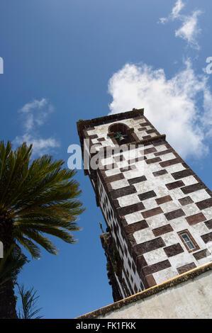 Bell Tower, Church of Our Lady of Purification or Nossa Senhora da Purificação. Santa Maria Island. Azores. Portugal. - Stock Photo