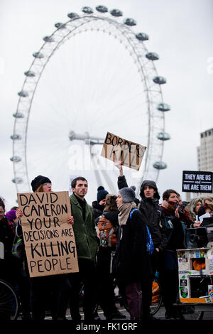 Parliament Square, Westminster, London, UK 5 March 2016 - Hundreds of  protesters stage a demonstration organised - Stock Photo