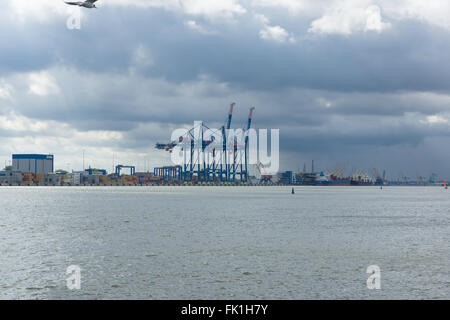 KLAIPEDA, LITHUANIA - AUGUST 08,2015:  sea port in Klaipeda is one of the largest ice-free seaport in the world. - Stock Photo