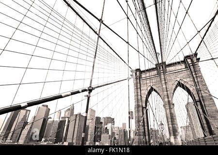 Black and White picture of Brooklyn bridge, New York City. USA. - Stock Photo